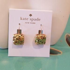 Kate Spade Gold Glitter Square Earrings